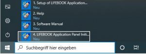 Starten des Fujitsu Lifebook Application Panel Utilitys
